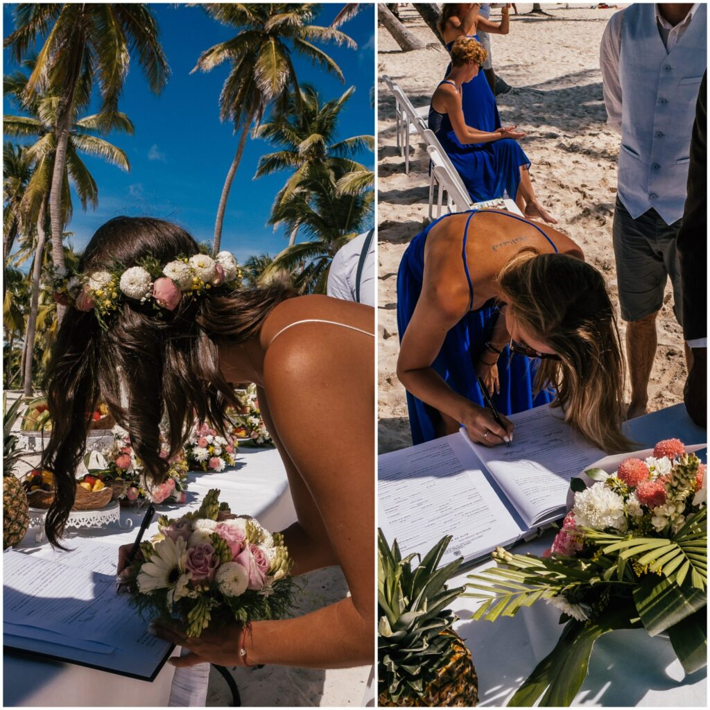 Ślub na plaży podpisanie dokumentów