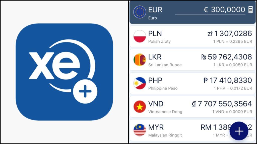 Currency XE Aplikacje podróżnicze