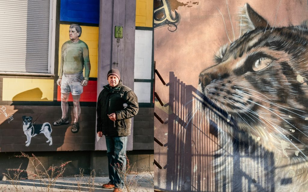 murale przy ulicy Roosvelta mieszkańcy z psami