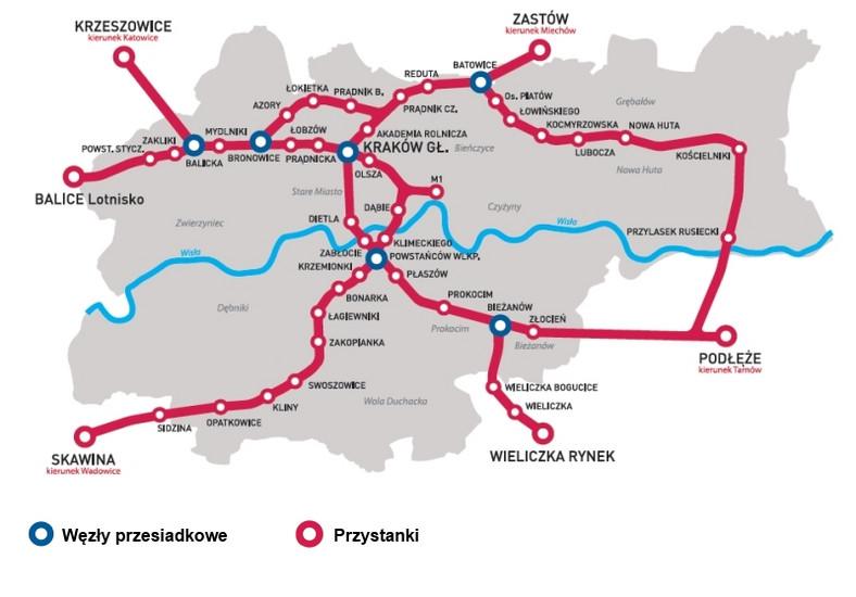 Mapa kolei w Krakowie